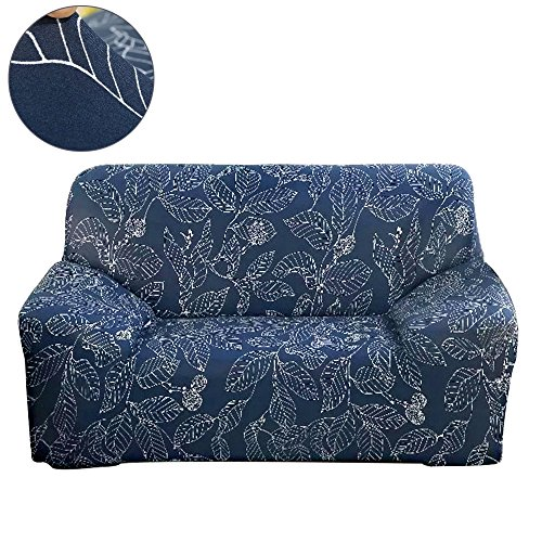 3 Piece Leaf Sofa (ColorBird Spandex Fabric Sofa Slipcovers Flower Series Removable Stretch Elastic Couch Protector Covers for Living Room Bedroom (Sofa, Navy Leaf))