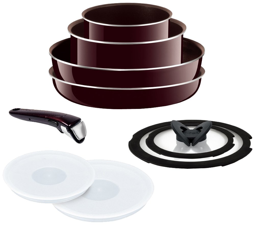 T-FAL frying pan 9-point set detachable handle Ingenio Neo mahogany Premier set with a lid 9 gas fire heater dedicated L63191