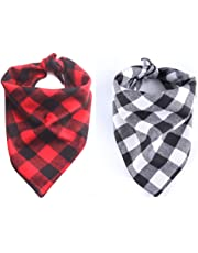 EYLEER Pet Dog Bandana Pure Cotton Reversible Triangle Plaid Bibs Scarf Dog Kerchief Accessories for Medium Large Dog Puppy,Pack of 2