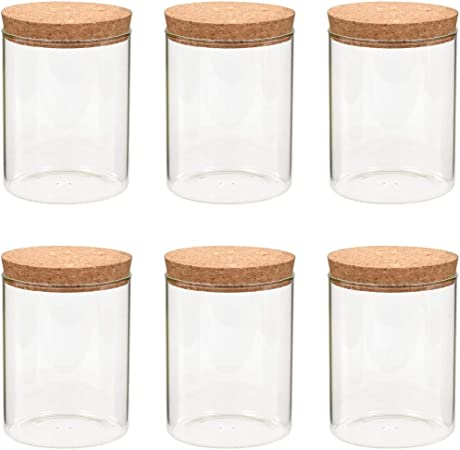 vidaXL 6X Tarros de Almacenaje con Tapa de Corcho Botes para Galletas Conservaci/ón Seguridad Accesorios Complementos Cocina Comedor Casa Hogar 650 ml