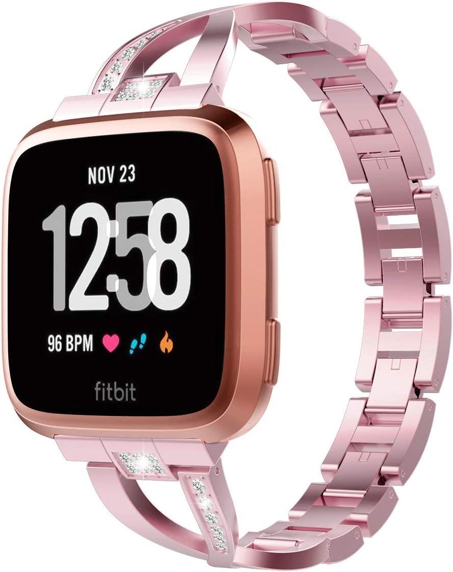 TiMOVO Correa Compatible con Fitbit Versa/Versa Lite/Versa 2, Pulsera de Aleación de Metal con Incrustaciones de Diamantes Ajustable Respirable para Fitbit Versa/Versa Lite/Versa 2 - Rosa