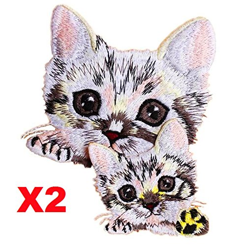 EatingBiting(R) 2Pcs Lucky Cats Heads DIY Embroidered Sew Iron On Patch Badge Bag Clothes Dress Applique, For Clothing Dress Bag Curtain, 1 Set For 2 Cats (Cat 2 Embroidery)