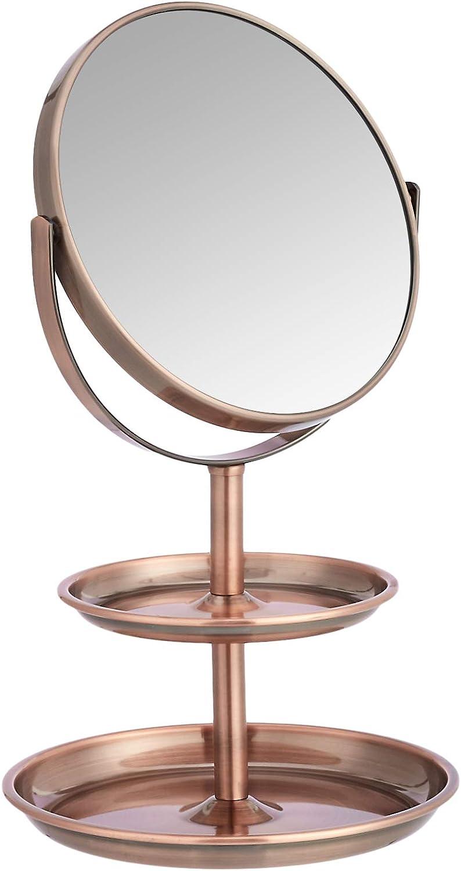 AmazonBasics Vanity Mirror with Dual Trays - 1X/5X Magnification, Bronze