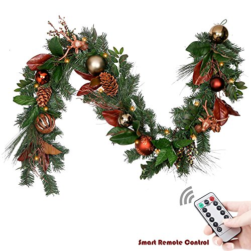 Spruce Christmas Garland (Valery Madelyn 6 Feet Woodland Artificial Greenery Eucalypti & Spruce Garland for Wedding Party Garden Wall Décor , Balls included, Battery Operated 20 LED Lights with Remote and Timer)