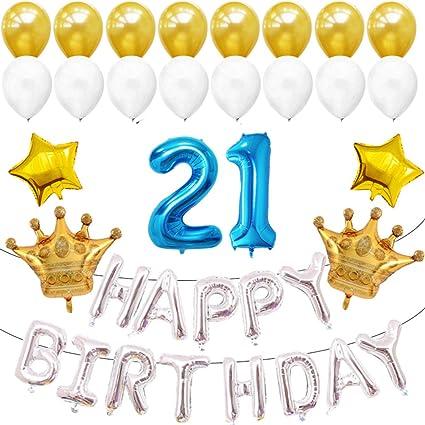 Amazon.com: Globos de látex para 21 cumpleaños, decoraciones ...