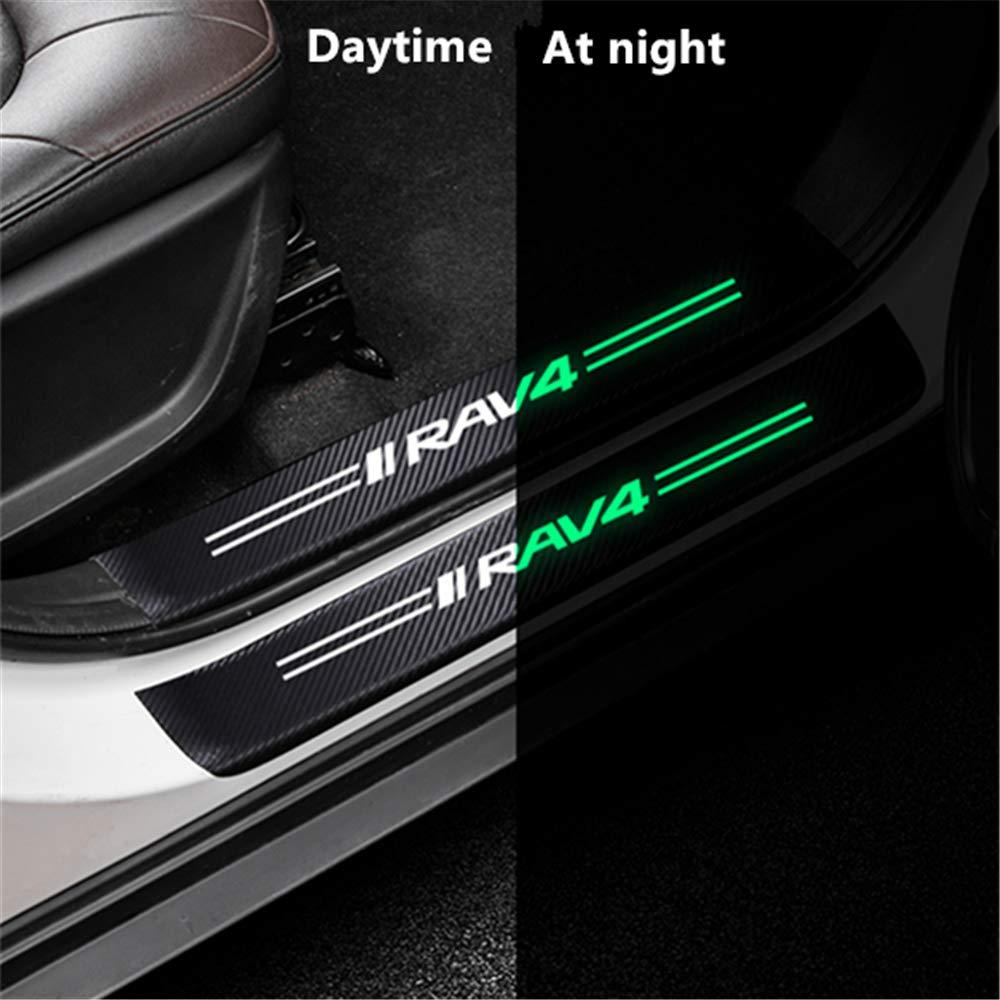 Anti-slip//Wear Car Accessories(Black 4Pcs External) Reflective Effect Carbon Fiber Car Welcome Pedal Decoration Sticker Car Door Sill Protector For RAV4