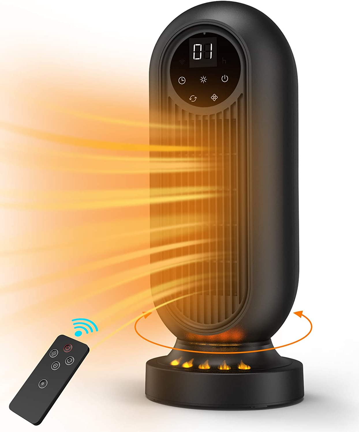 Infray Space Heater, 1500W Oscillating Electric Tower Heater with 3 Modes, Portable Fast Heating Ceramic Fan Heater with 12H Timer, Remote Control & LED Display for Home Indoor Use