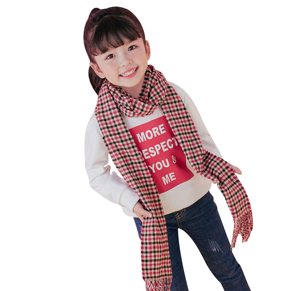 YueLian Kids Scarf Autumn Winter Thick Plaid Scarfs