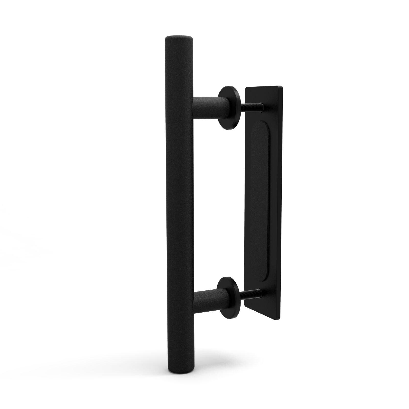 CCJH 12'' Pull and Flush Door Handle Set for Sliding Wooden Hardware Gate Doors Black