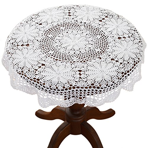 gracebuy 39 Inch White Round 100% HANDMADE Crochet Lace Tablecloth Doilies