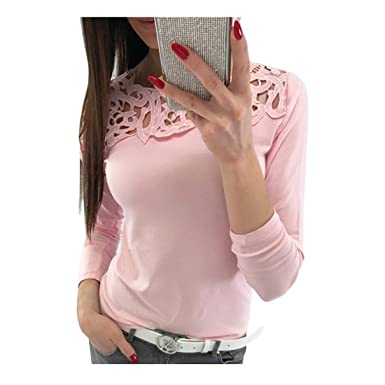 51fe68f1968 Longra T-Shirt Femme Fille Manches Longues Tee Shirt Dentelle Femme  Chemisier Femme Blanc Chemisiers