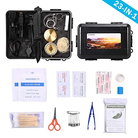 TOMSHOO Survival Kit First Aid Kit 23 in 1 -Camping Survival Kit Emergency Survival Kit with Survival Bracelet, Fire Starter, Whistle, Wood Cutter 63PCS Included
