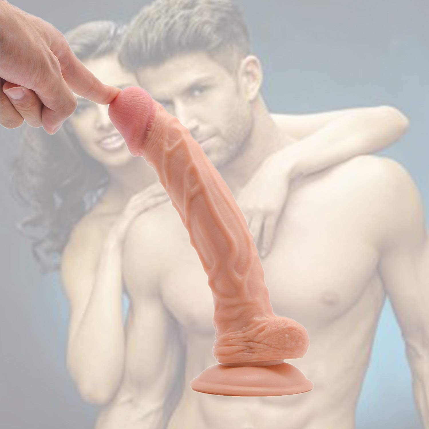 FEHFJAD-2LKM 9.5 Inches lifelike Lifelike Huge Tools for Women Silicone Tools with Suction Cup