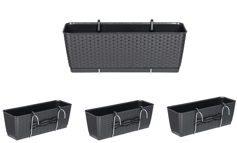 Kreher Set aus 4 Balkon Pflanzk/ästen mit Metallhalterung Preiswert. Aus Kunststoff im Rattan Design in Anthrazit Ma/ße jeweils 50 x 17 x 17 cm