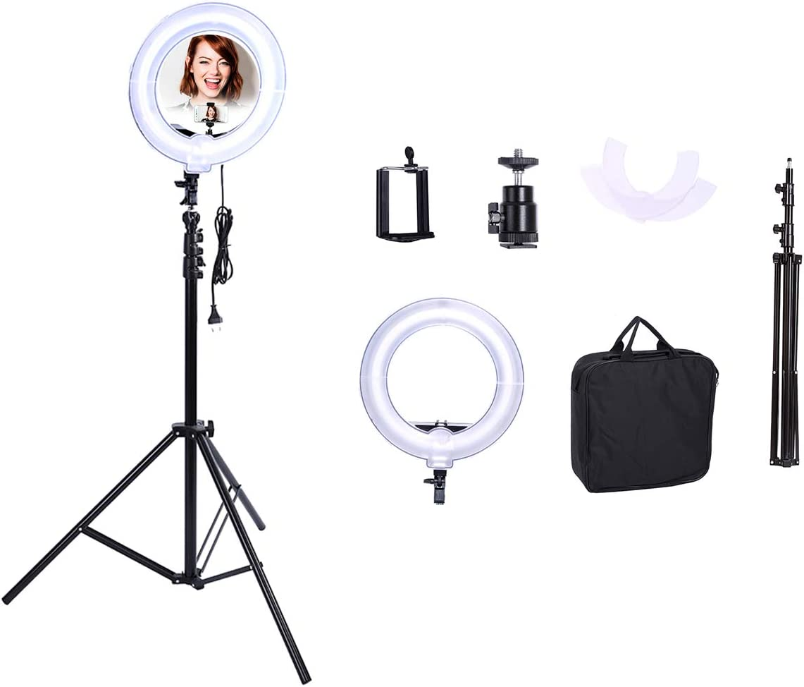 HULYZLB LED Ring Light13.5 LED Ring Light Kit w// 180cm Tripod Stand,Adjustable Color Temperature lamp for Live Stream YouTube Video