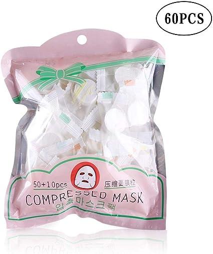 60 Piezas Mascarilla Comprimida Mascarilla Facial Desechable En Algodon DIY Compresa Masque Mascarilla, Para Cuidado Facial De La Piel: Amazon.es: Belleza