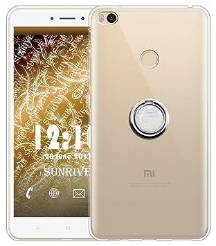 Sunrive Funda para Xiaomi Mi MAX 2, Silicona Slim Fit Gel Transparente Carcasa Case Bumper Anti-Arañazos Espalda Anillo Kickstand 360 Grados Giratorio ...
