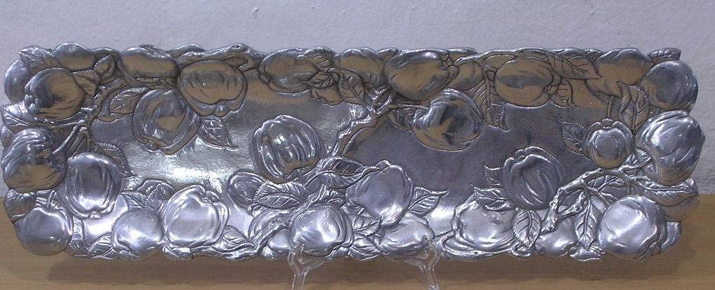 Arthur Court Apple Oblong Aluminum Tray 19 x 6
