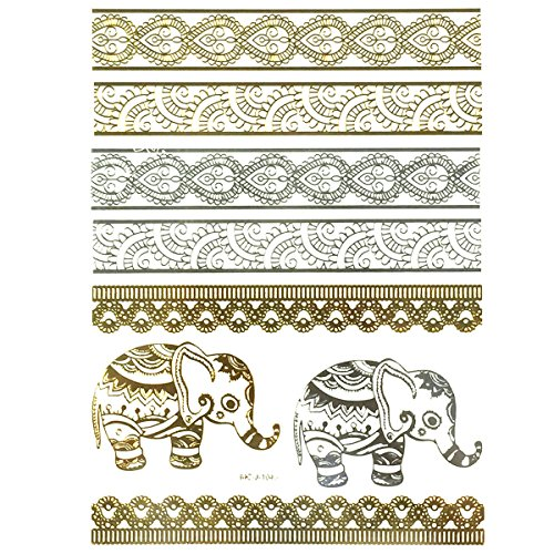 Wrapables Celebrity Inspired Temporary Elephants Tattoos, Large, Metallic Gold Silver & Black (Celebrity Jewelry Inspired)
