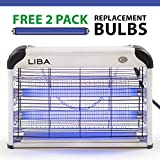 Bug Zapper & Electric Indoor Insect Killer by LiBa – Mosquito, Bug, Fly & Other Pests Killer – Powerful 2800V Grid 20W Bulbs – Free 2-Pack Replacement Bulbs Included – Indoor Use Only
