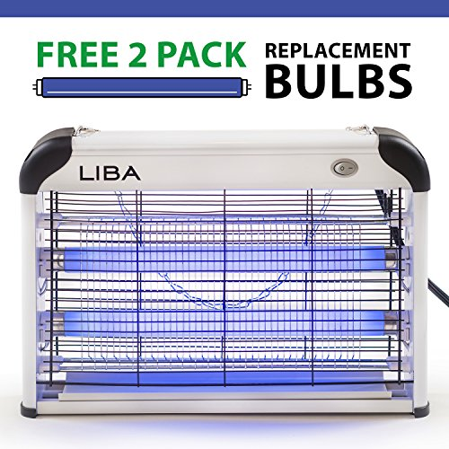 Bug Zapper & Electric Indoor Insect Killer by LiBa  Mosquito, Bug, Fly & Other Pests Killer  Powerful 2800V Grid 20W Bulbs  Free 2-Pack Replacement Bulbs Included - Indoor Use Only
