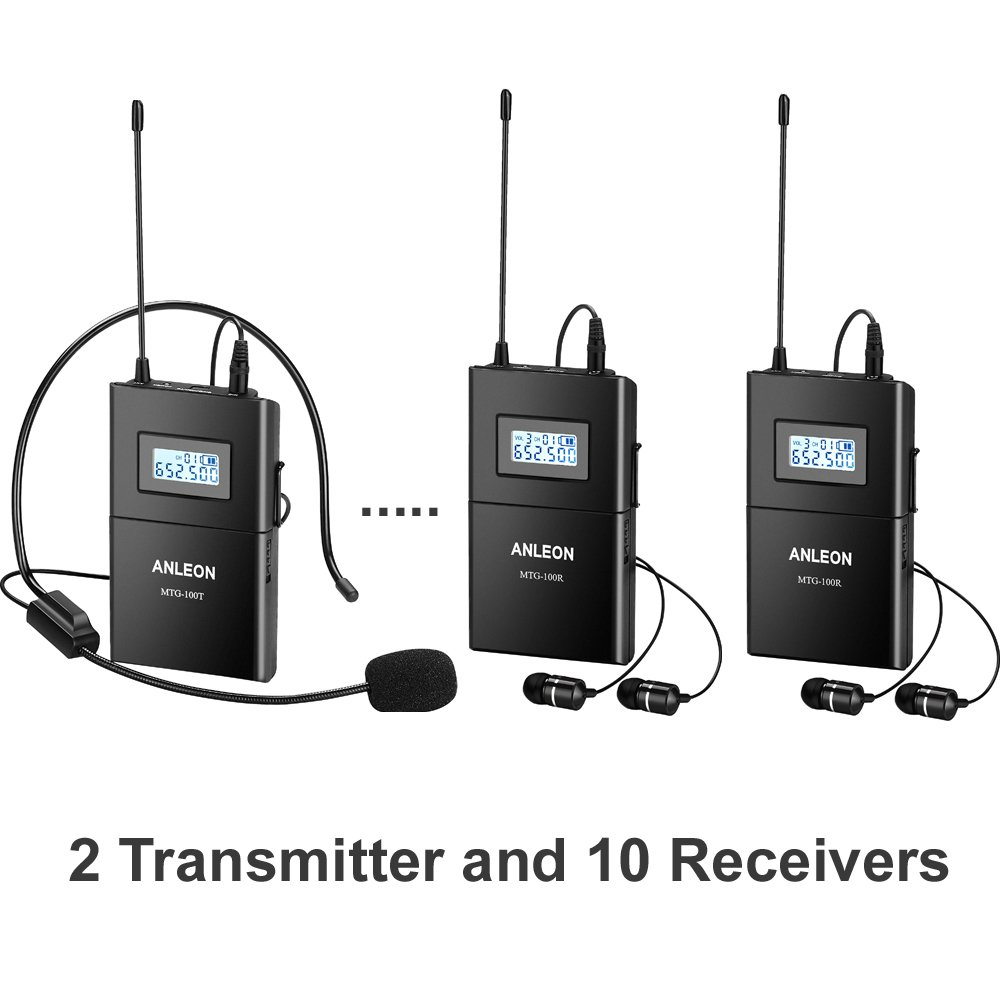 ANLEON MTG-100 UHF Wireless Tour Guide System Teach Train Visit Tourism Church translation system (2 Transmitter 10 Receivers)