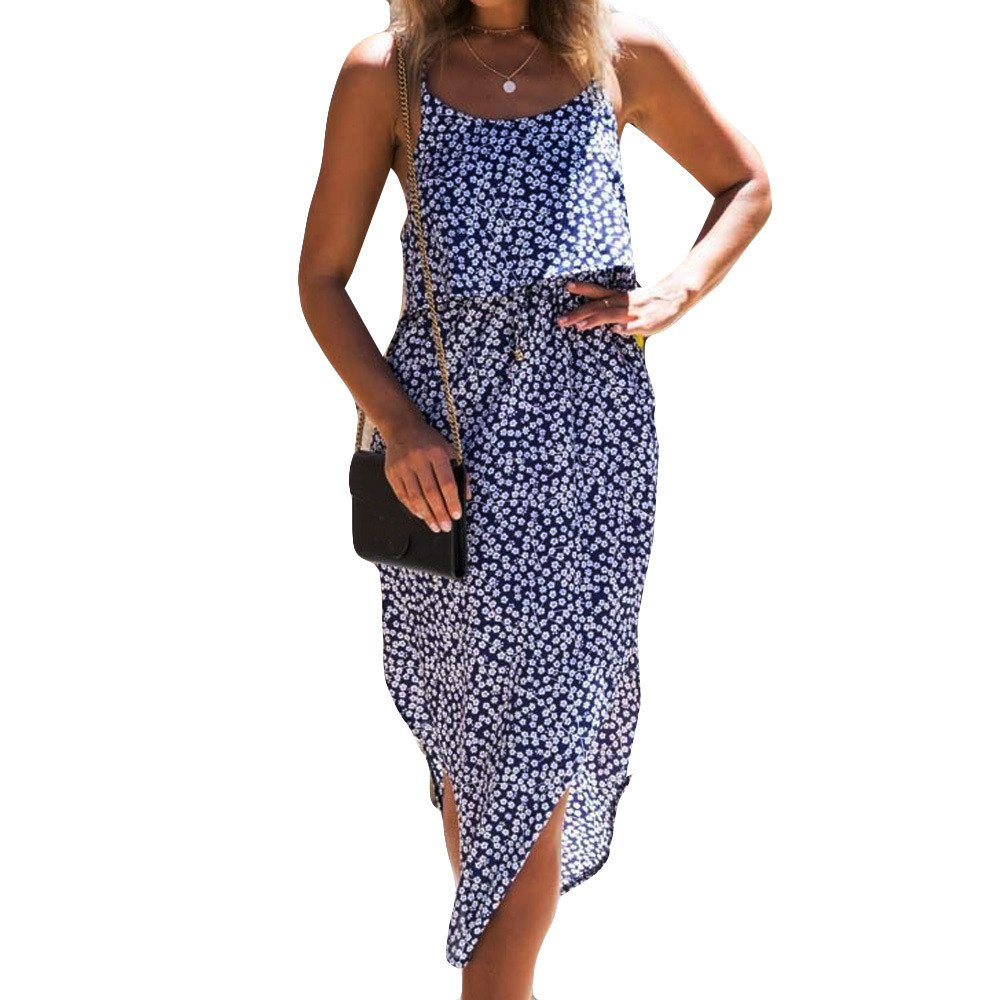 Clearance Women Dresses On Sale Floral Printed Cocktail Party Evening Long Dress Beach Sundress for Summer (S, Blue)