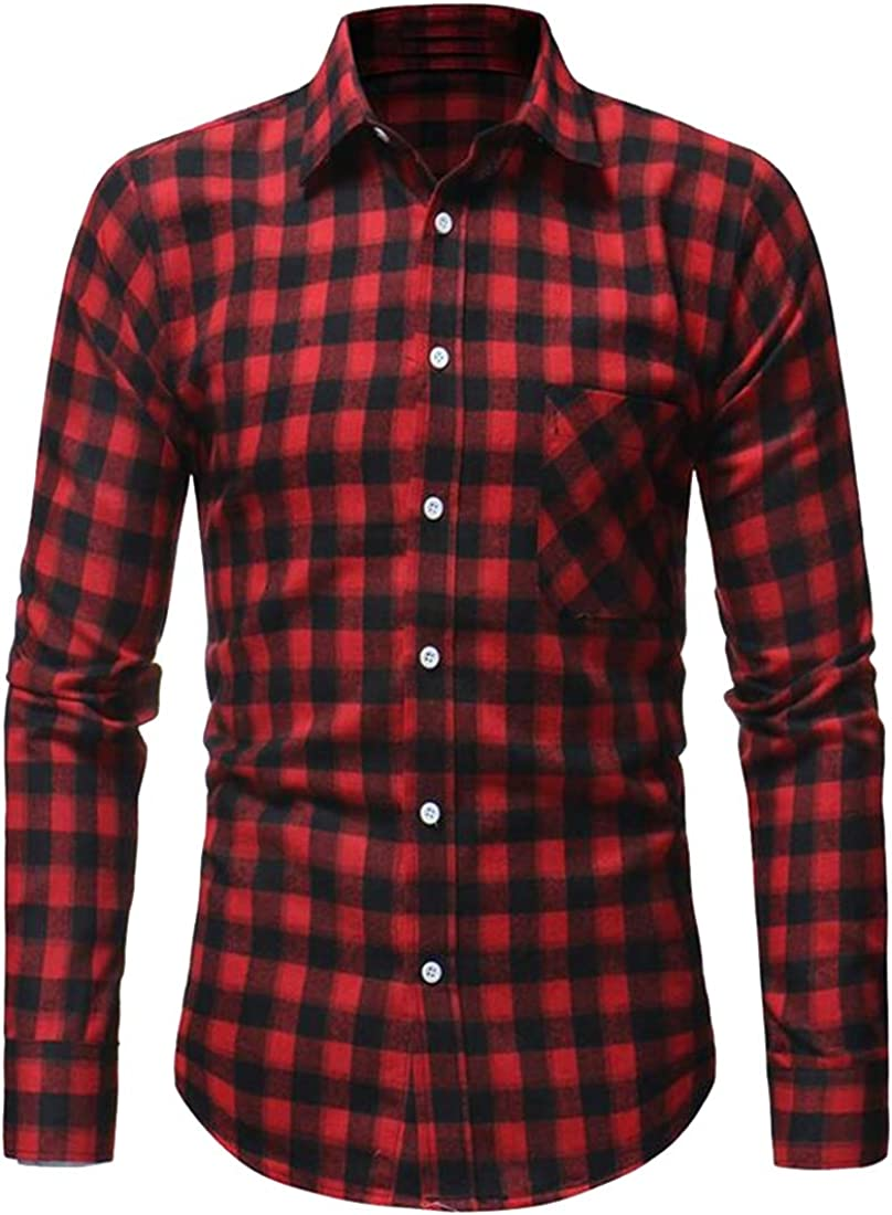 Teapolity Mens Plaid Flannel Slim Fall /& Winter Button Down Long Sleeve Flannel Checkered Shirt