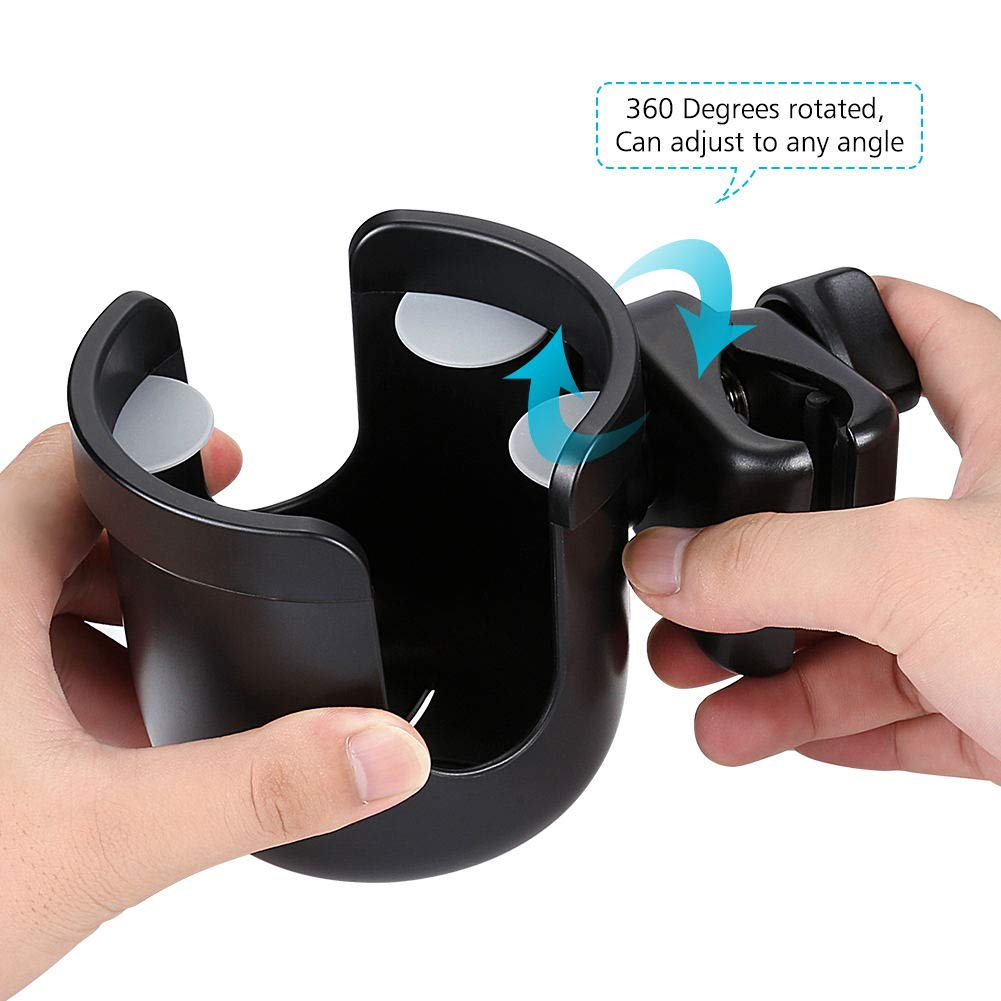 Accmor Universal Cup Holder, Stroller Cup Holder, Large Caliber Designed Cup Holder, Fit for bottle with handle, 360 Degrees Universal Rotation Cup Drink Holder for Baby Stroller, Pushchair Wheelchair by Accmor (Image #5)