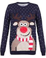 Made By PURL® New Mens Womens Xmas Jumpers Rudolph Pom Pom Santa Elf Filthy Animal Snowflake Novelty Vintage Sweater Knitted Retro Pullover Tops S-3XL