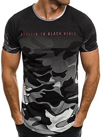 VJGOAL Camiseta para Hombre Carta de Camuflaje Informal Impreso Cuello Redondo Camisetas de Manga Corta: Amazon.es: Ropa y accesorios