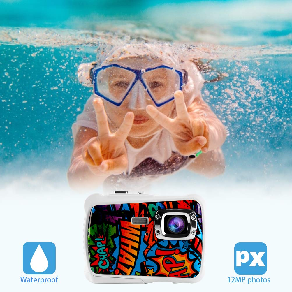 Poogig 【2019 Newest Kids Camera】 Kids Camera, Waterproof Digital Camera for Children, 12MP HD Underwater Camcorder with 3M Waterproof, 2.0 Inch LCD Screen, 8X Digital Zoom, Flash Mic and 8G SD Card by Poogig (Image #7)