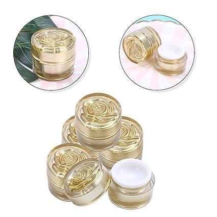5 piezas Recargable Acrílico Cosmético Contenedor Vasos 10g Rose Vacío maquillaje botellas (Oro)