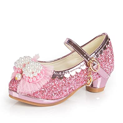 4e7ad8ef9524 Ychen Mary Jane Kids Girls Glitter Sparkle mid Heels Party Shoes Children's  Bridesmaid Shoes Wedding Shoes