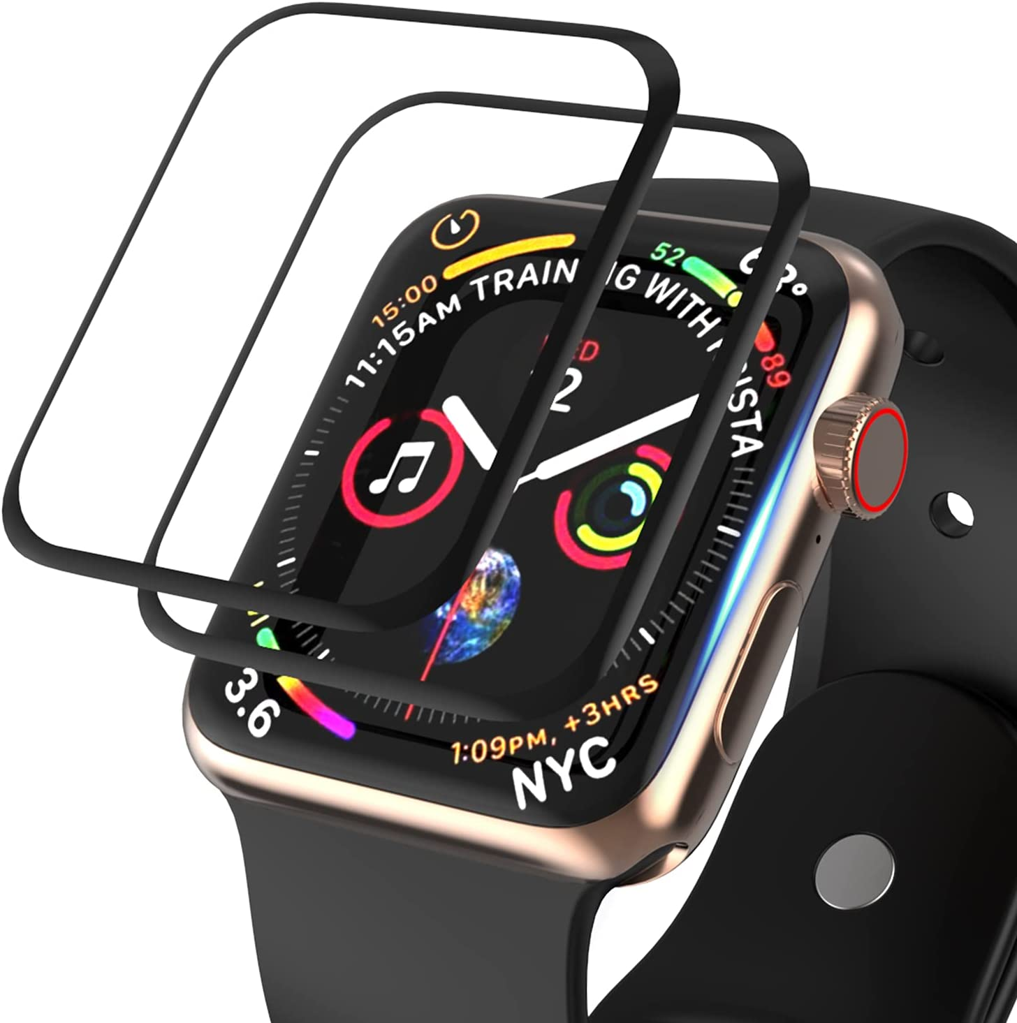 [2 Pack] Tempered Glass Screen Protector Compatible for Apple Watch 44mm SE Series 6 Series 5 Series 4, FIFCHALL 3D Curved Edge [Full Coverage] HD Clear Screen Film for iWatch Accessories