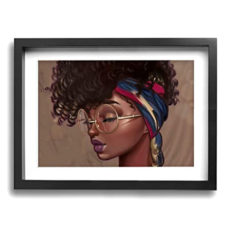 YZ-MAMU African American Black Women with Glasses Scarf Wall Art Paintings Print Artwork Framed Ready to Hang for Home Decorations 16x12Inch