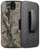 DuraForce Pro Camo Clip Case, Nakedcellphone's [Camouflage] Tree Leaf Real Woods Kickstand Cover + Black Belt Hip Holster for Kyocera Duraforce Pro (E6810, E6820, E6830, E6833, E6800)
