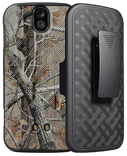 DuraForce Pro Camo Clip Case, Nakedcellphone's [Camouflage] Tree Leaf Real Woods Kickstand Cover + Black Belt Hip Holster for Kyocera Duraforce Pro (E6810, E6820, E6830, E6833, E6800) by Nakedcellphone