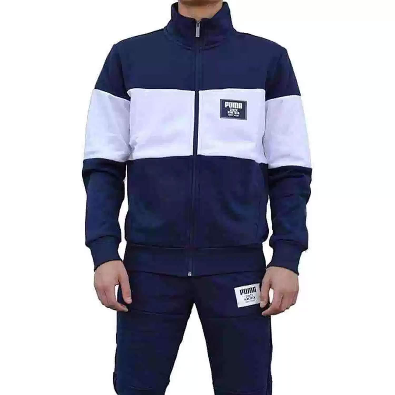 4411ccb604285 PUMA Mens Jog Suit Fleece Tracksuit Rebel Block Sweat Suit Navy/White New  851563 06