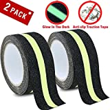 weather resistant outdoor step - DEALIKEE Anti Slip Traction Tape, None Skid Glow In The Dark Walk Strip Safety Tape with 3M Best Grip Abrasive Adhesive For Stairs, Tread Step, Gaffers.( 2 Pack, 2