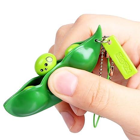 Rocita Squeeze-a-Bean Squishy Soybean Colgantes Juguetes con reducción de ansiedad y estrés, Fidget Toys Squeeze-a-Bean Llavero Colgantes Celular ...