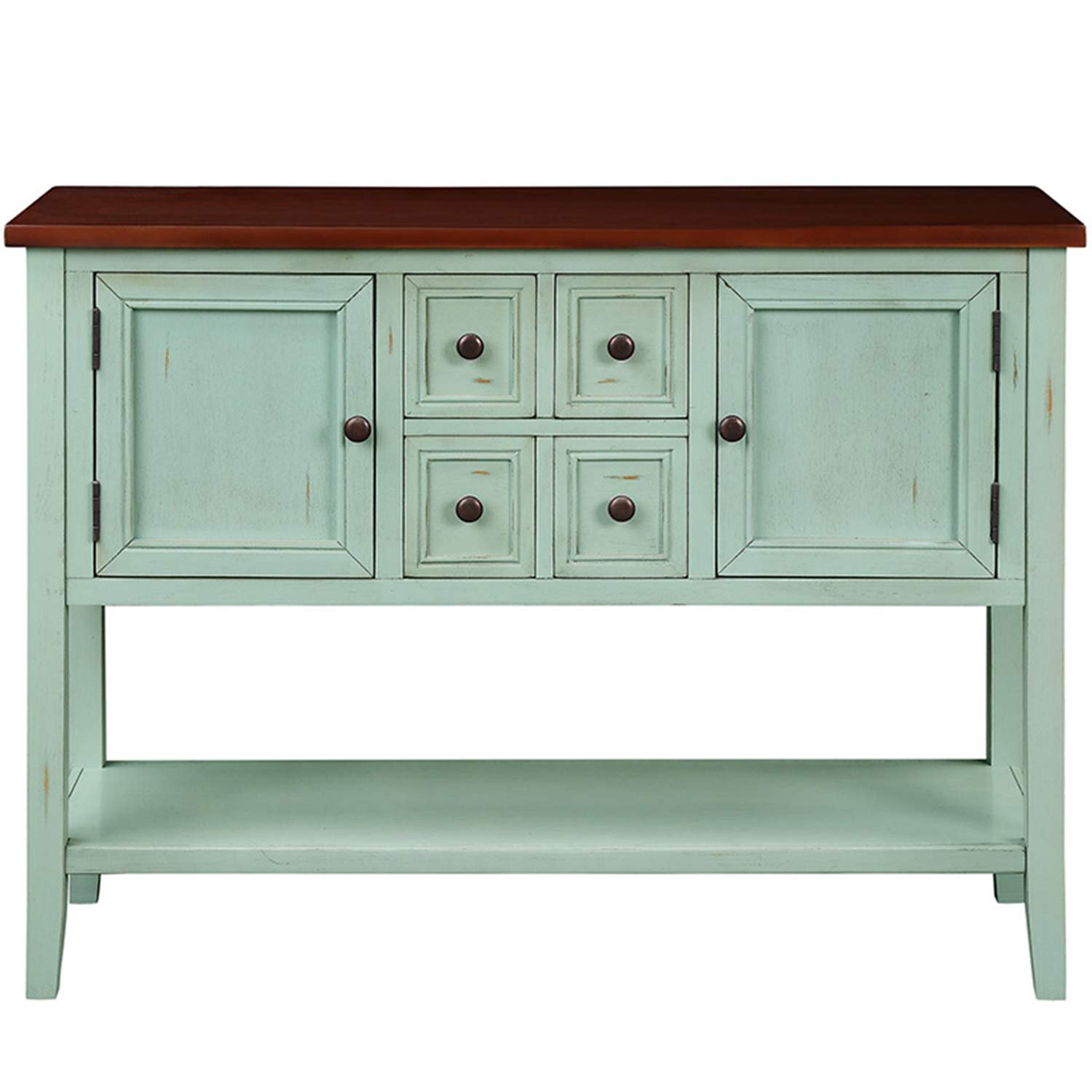 P PURLOVE Console Table Buffet Table Sideboard with Four Storage Drawers Two Cabinets and Bottom Shelf (Blue) by P PURLOVE (Image #7)