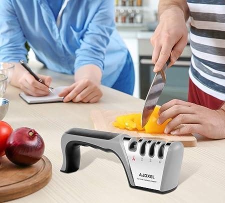 AJOXEL Afilador de Cuchillos Profesional, 4 en 1 Manual Cocina Afilador Cuchillos, Knife Sharpener Afiladores Manuales para Cuchillos de Todo tamaño del hogar, Diseño Antideslizante