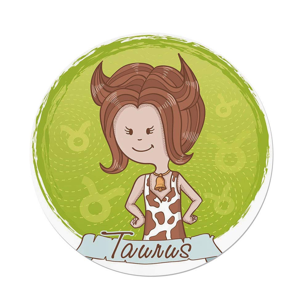 Polyester Round Tablecloth,Taurus,Cute Cartoon Little Girl Dressed Like Cow with Spots and Horns Image Decorative,Light Caramel Apple Green,Dining Room Kitchen Picnic Table Cloth Cover,for Outdoor In by iPrint