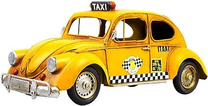 Lioobo Jaune Taxi Voiture Vintage Petite Voiture Modèle Rétro Véhicule Jouet Table Voiture Tronc Collection Art Décoratif Voiture Pour Club Home Shop Amazon Fr Cuisine Maison