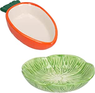 Small Animals Small Lettuce Green Leaf & Carrot Feeding Bowl Treat Pot