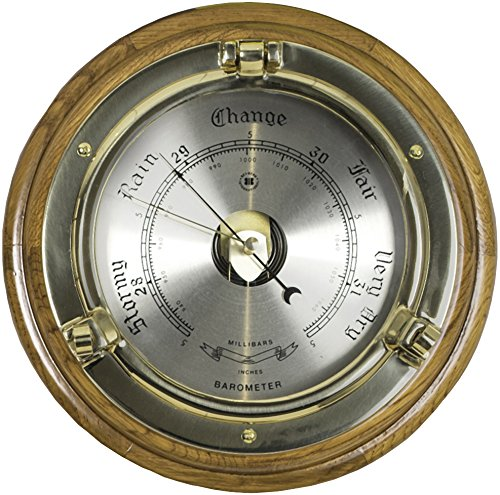 Bey-Berk SB408 Lacquered Brass Porthole Barometer on Oak Wood. Brown