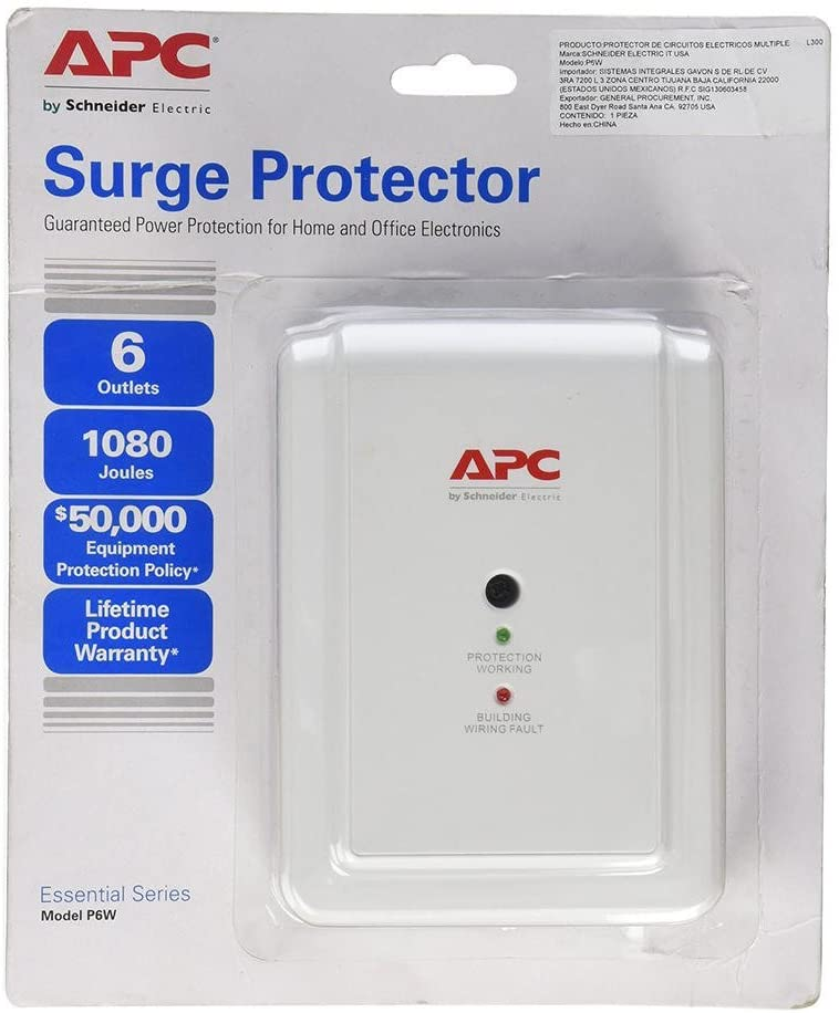 APC P6W 6-Outlet Wall Surge Protector
