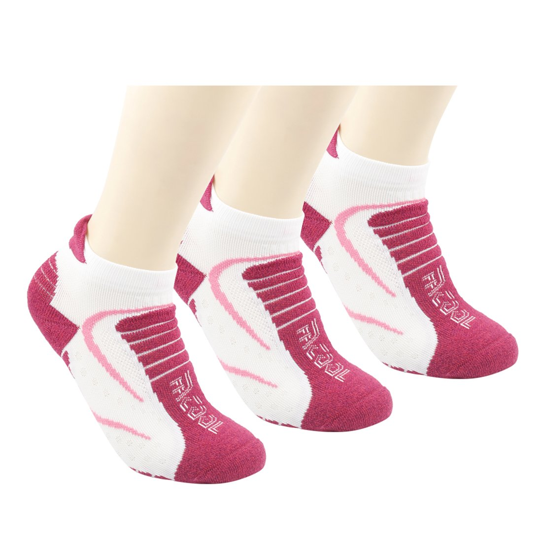 Athletic Running Socks Facool Women Ladies Thick Padded Casual Crew Low Cut Ankle Hiking Socks,One Size,3 Pairs Rose White&red by Facool