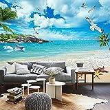 3D Tv Wall Wallpaper Living Room Ocean View Bedroom Beach Ocean Landscape Paintings 350cmX270cm
